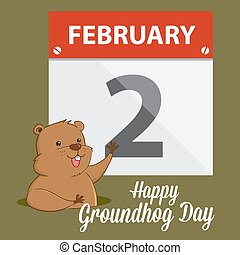Groundhog Waving Infront of A Calendar - Groundhog waving in...