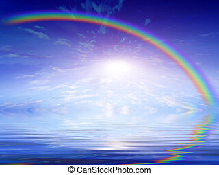 rainbow - abstract scene reflection sky in surfaces of water