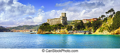 Lerici village panorama, fortress and coast Cinque terre,...