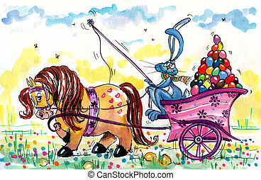 Easter bunny - Pony carrying coach with Easter Bunny and...