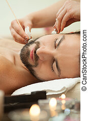 Attractive healthy guy is attending beauty salon - Handsome...
