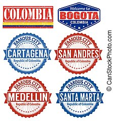 Colombia cities stamps - Set of grunge rubber stamps with...
