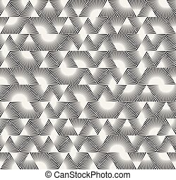 Vector Seamless Black and White Triangle Sunburst Lines...