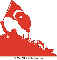 islam flag - silhouette of crowd with islamic symbol on flag