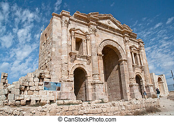 Triumphal Arch in Jerash, Jordan The Arch of Hadrian was...