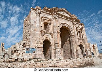 Triumphal Arch in Jerash, Jordan. The Arch of Hadrian was...