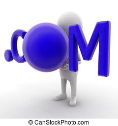 3d man holding .com text concept
