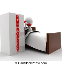 3d man lying in bed and making a emergency call concept in...