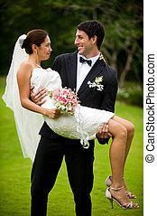 pareja, obteniendo, casado