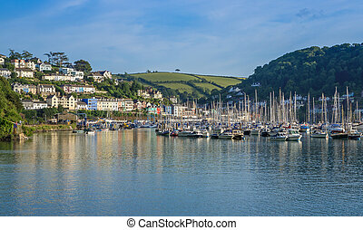 Yachts at Marina on the River Dart at Kingswear, Devon,...