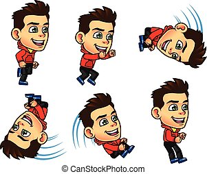 Parkour Boy Jumping Sprite - Vector Illustration of Cute Boy...