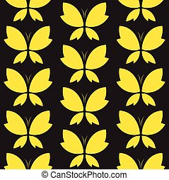 Vector seamless pattern with yallow butterfly on black...
