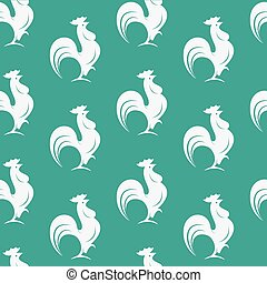 Vector seamless pattern with white cock on blue background. wallpaper