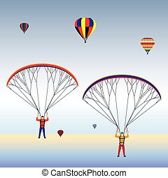 Paragliding and balloons in the sky