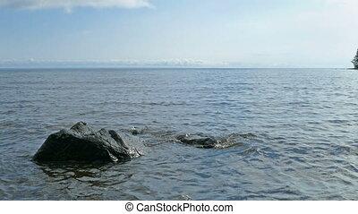 Shore of Onega lake in Karelia, Russia