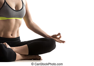 Square Yoga Pose - Sporty fit beautiful young woman in...
