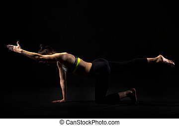 Bird dog exercise - Sporty fit beautiful young woman in...