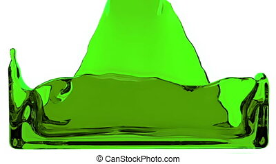 green liquid fills up screen, with alpha channel FULL HD 3d...