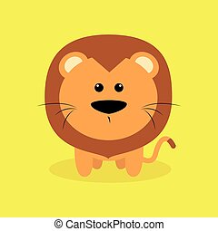 Cute Cartoon Lion - Abstract cute Lion on a special...