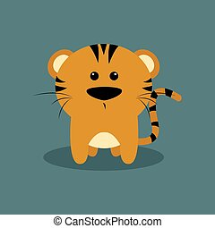 Cute Cartoon tiger - Abstract cute tiger on a special...