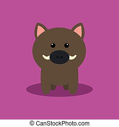 Cute Cartoon Wild Pig - Abstract cute Wild pig on a special...