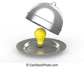 3d idea bulb in a dish