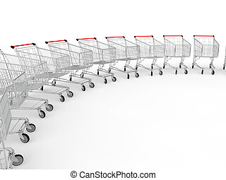 3d shopping trolleys in a row