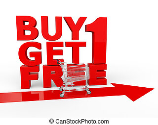 Buy one get one free shopping - 3d render of buy one get one...