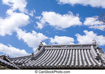 Buddhist temple roof and blue sky with altocumulus clouds