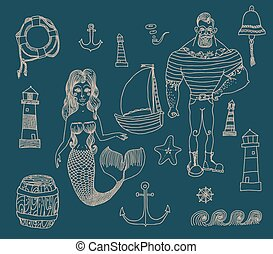 set with sailor, lighthouse, mermaid, ship and other - Hand...