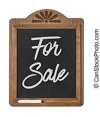 A chalkboard sign on a white background - For Sale