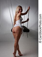 swings  - beautiful girl on swings