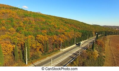 AERIAL VIEW. Truck Driving Along Road Near Autumn Forest