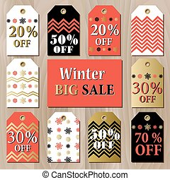 Big sale printable card template with golden red snowflakes design.