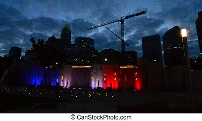 The Charlotte, North Carolina city skyline in the morning