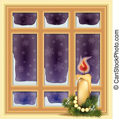 Frosted window and candle, winter background, vector...