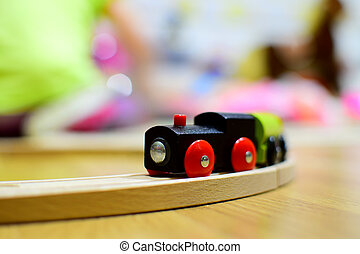 Wooden train. Toy detail. - Detail of a retro toy - wooden...
