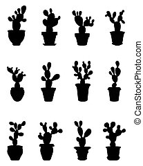 silhouettes of cactus - Black silhouettes of cactus at...