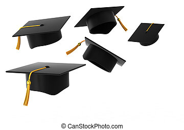 Graduation hat on white background - Graduation Hat Fly...