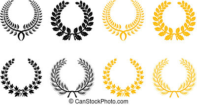 Set of laurel wreaths - Set of gold and black laurel wreaths