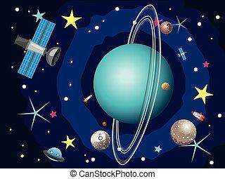 Uranus Planet in the Space - Cartoon planet Uranus in the...