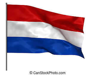 Holland flag - Waving Holland flag isolated over white...
