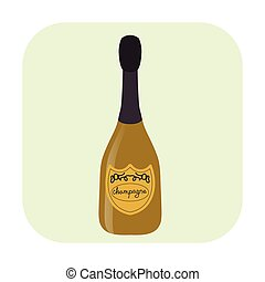 Bottle of champagne cartoon icon