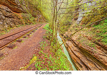 Narrow gauge railway Guama gorge Caucasus Russia