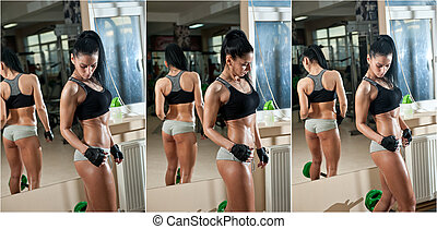 Fitness woman doing workout - Gorgeous brunette working on...