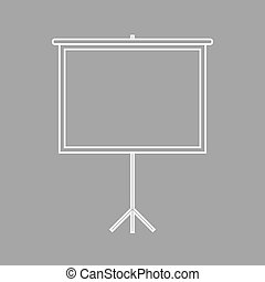 Projection screen icon - Blank Projection screen. Flat style...
