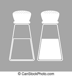 Salt and pepper. - Salt and pepper sign. Flat style icon....