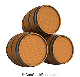 Barrels - 3d render of wooden barrels isolated over white...