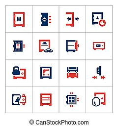Set color icons of safe isolated on white Vector...