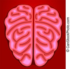 Brain	 - Illustration of human brain in red background
